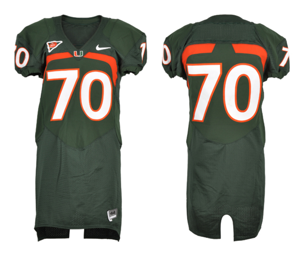 Miami Hurricanes Game-used #70 Green Football Jersey