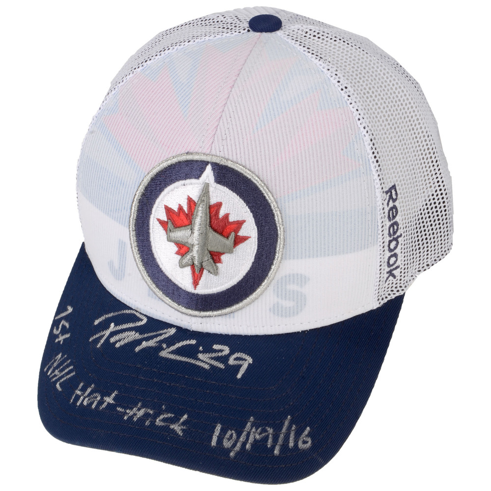 Patrik Laine Winnipeg Jets Autographed Event-Worn Cap with 1st NHL Hat Trick 10/19/16 Inscription - Worn During Patrik's 1st Public Memorabilia Signing