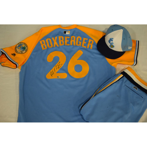 Photo of Game-Used Autographed Turn Back the Clock Jersey, Hat and Pants: Brad Boxberger