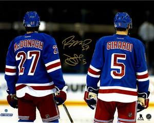Dan Girardi & Ryan McDonagh Dual Signed Line Up for National Anthem 16x20 Photo
