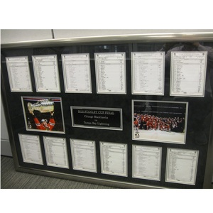 2015 NHL Stanley Cup Final Line-up Cards (complete set) Framed.  Chicago Blackhawks vs Tampa Bay Lightning