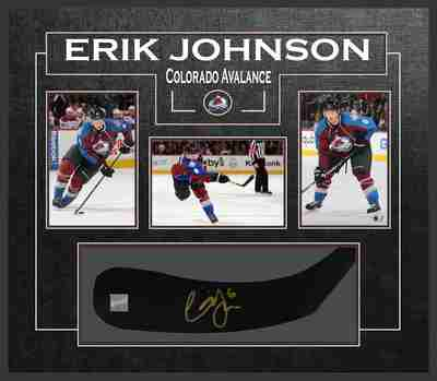 Erik Johnson - Signed & Framed Stick Blade - Featuring Colorado Avalanche Photo Collection