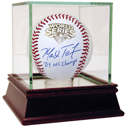 """Photo of Mark Teixeira Autographed 2009 WS Baseball w/ """"09 WS Champs"""" Insc. - Case Not Included"""