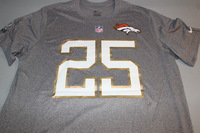 NFL - BRONCOS CHRIS HARRIS JR. 2016 PRO BOWL LIGHT GRAY T-SHIRT WITH NAME AND NUMBER - SIZE XL