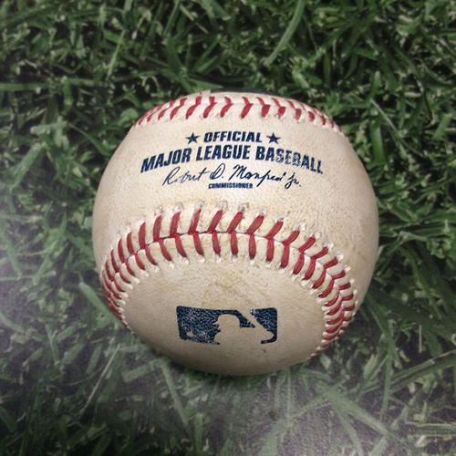 Photo of Game-Used Baseball CHC@MIL 04/09/17 - Jake Arrieta to Jonathan Villar: Strike Out