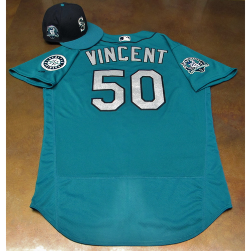 Photo of Nick Vincent Green Game-Used Jersey & Cap With Edgar Martinez Patch Worn 8-11-2017