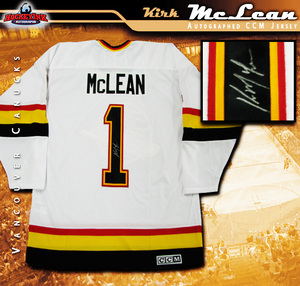 KIRK MCLEAN Signed Vancouver Canucks White CCM Jersey