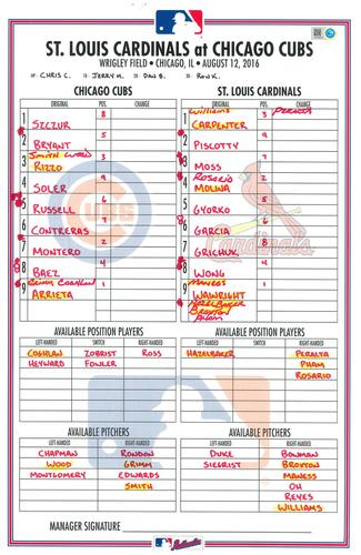 Photo of Game-Used Lineup Card -- Arrieta 14th Win (5.2 IP, 1 ER, 6 K -- Contreras, Szczur, Soler, Baez Hit HRs -- Cardinals vs. Cubs -- 8/12/16
