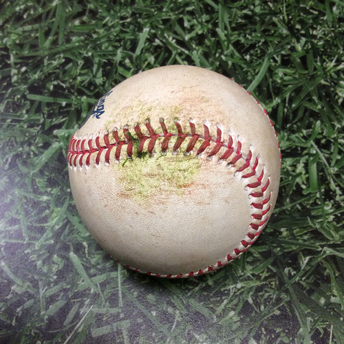 Photo of Game-Used Baseball CHC@MIL 04/08/17 - Tommy Milone to Kris Bryant: Strike Out