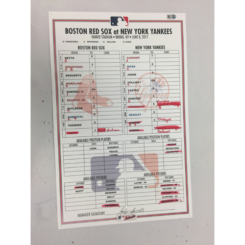 Photo of Red Sox at Yankees June 8, 2017 Game-Used Lineup Card - Yankees W 9 - 1, Sanchez 2 HRs 5 RBIs, Aaron Judge 3 for 4