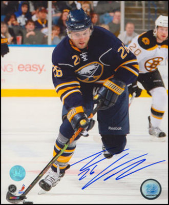 THOMAS VANEK Buffalo Sabres SIGNED 8x10 Game Action Photo