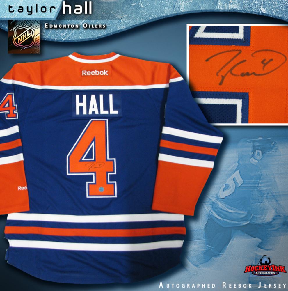 TAYLOR HALL Signed Edmonton Oilers Blue Reebok Premier Jersey