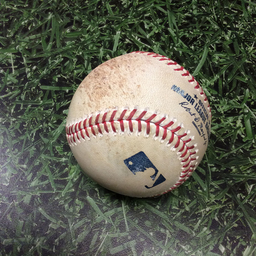 Photo of Game-Used Baseball CHC@MIL 04/07/17 - Jimmy Nelson to Ben Zobrist: Ball 4, Walk