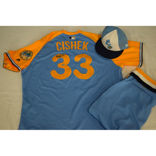 Photo of Game-Used Autographed Turn Back the Clock Jersey, Hat and Pants: Steve Cishek