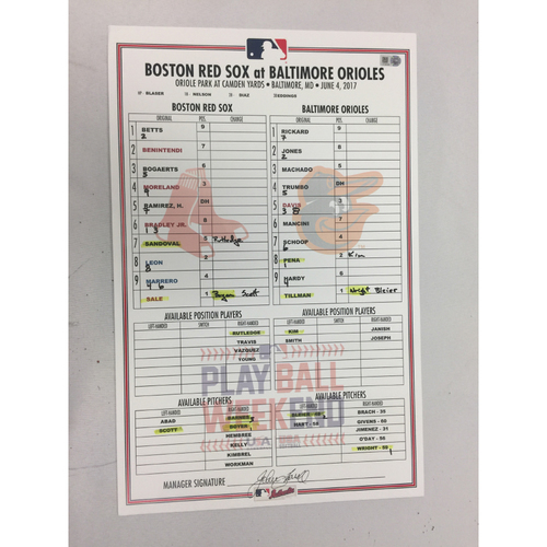 Red Sox at Orioles June 4, 2017 Game-Used Lineup Card - Red Sox Win 7 - 3, Andrew Benintendi 2 HRS, Chris Sale Win