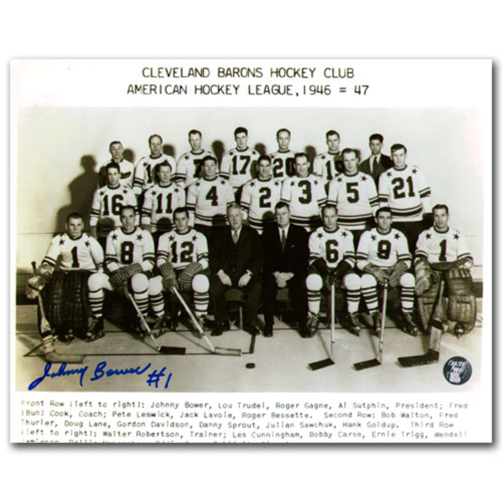 Johnny Bower Autographed Cleveland Barons 8X10 Photo (Toronto Maple Leafs)