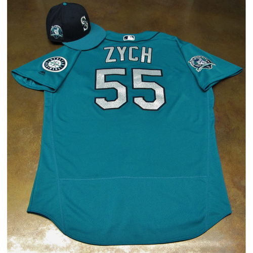 Photo of Tony Zych Green Game-Used Jersey & Cap With Edgar Martinez Patch Worn 8-11-2017