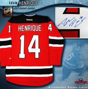 ADAM HENRIQUE Signed New Jersey Devils Red Reebok Jersey