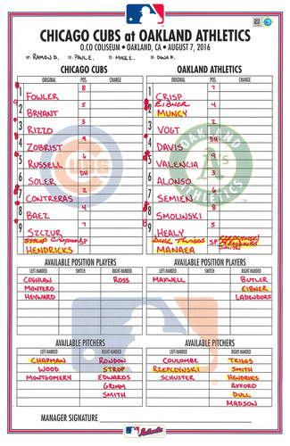 Photo of Game-Used Lineup Card -- Hendricks 11th Win (7.1 IP, 1 ER, 4 K) -- Bryant 27th HR, Soler 7th HR -- Cubs at Athletics -- 8/7/16