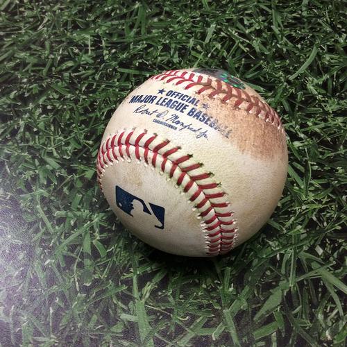 Photo of Game-Used Baseball COL@MIL 04/04/17 - Zach Davies to Trevor Story: Single