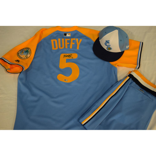 Photo of Autographed Turn Back the Clock Jersey, Hat and Pants: Matt Duffy