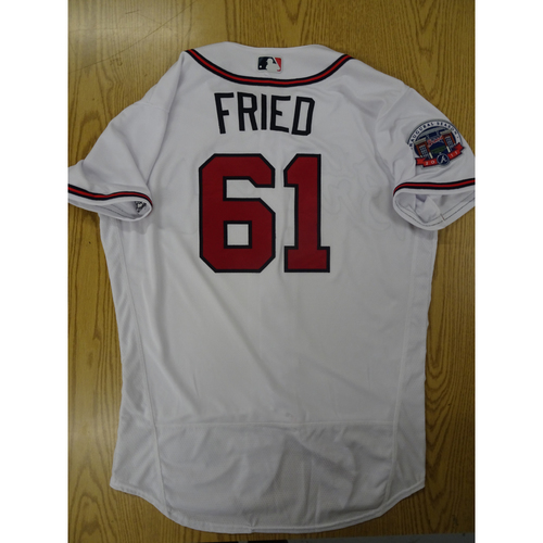 Photo of Max Fried Game-Used Los Bravos Jersey - Worn 9/17/17 at SunTrust Park
