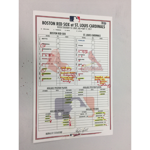 Photo of Red Sox at Cardinals May 17, 2017 Game-Used Lineup Card - Red Sox Win 5 - 4 in 13 innings