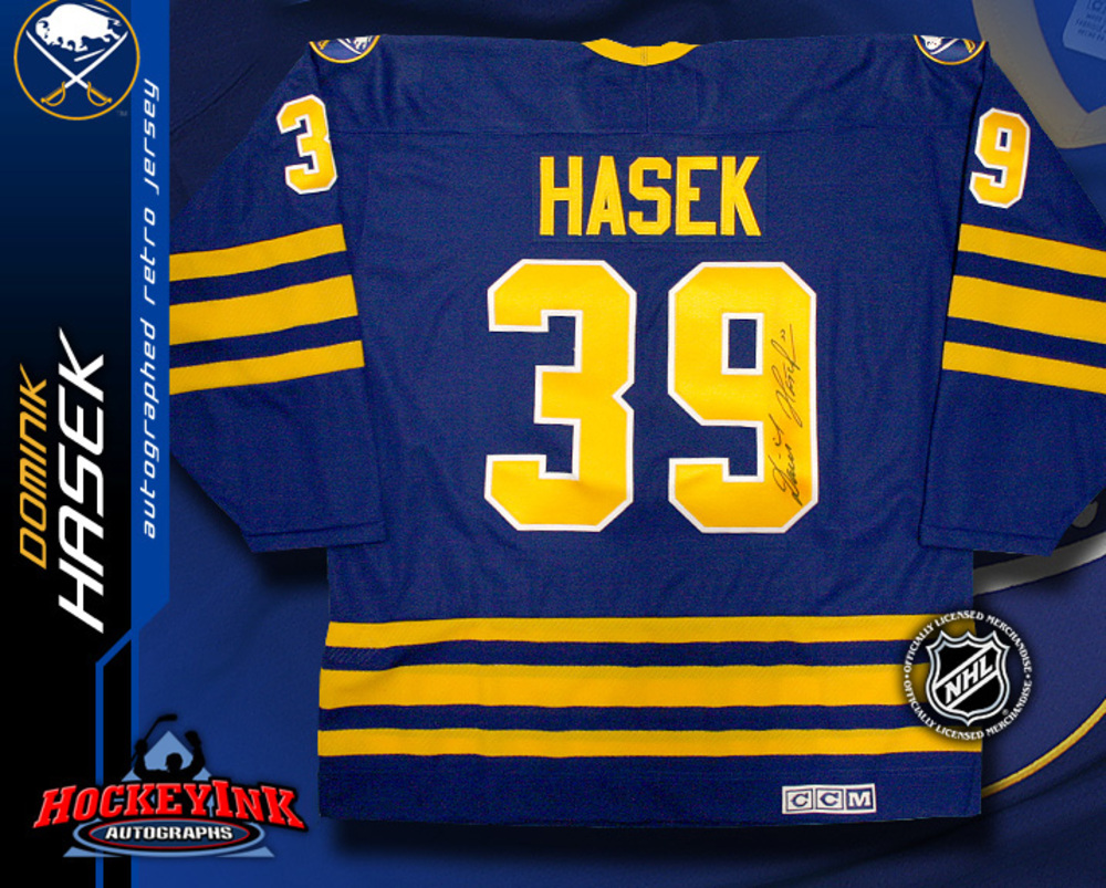 DOMINIK HASEK Signed Retro Buffalo Sabres Blue CCM Jersey