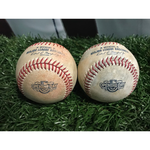 Photo of 2017 Opening Day Game-Used Baseball: Evan Longoria and Kevin Kiermaier
