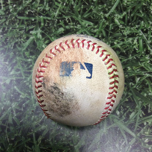 Photo of Game-Used Baseball COL@MIL 04/04/17 - Zach Davies to Carlos Gonzalez: Double