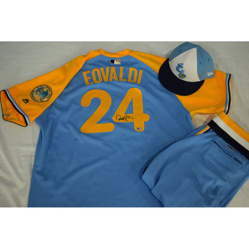 Photo of Game-Used Autographed Turn Back the Clock Jersey, Hat and Pants: Nathan Eovaldi