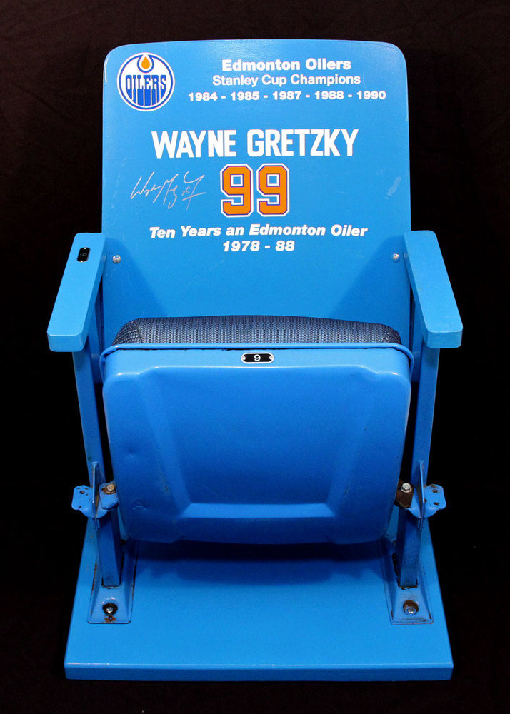 Wayne Gretzky #99 - Autographed All Original Single Blue Seat From Edmonton Coliseum