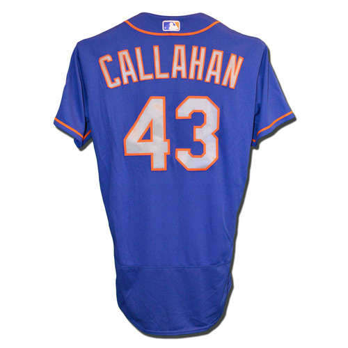 Photo of Jamie Callahan #43 - Game Used Blue Alternate Road Jersey - Mets vs. Phillies - 10/1/17