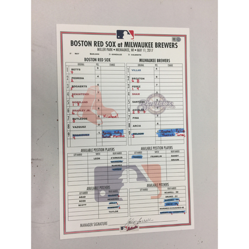 Red Sox at Brewers May 11, 2017 Game-Used Lineup Card - Red Sox Win 4 - 1, Mookie Betts three Run HR