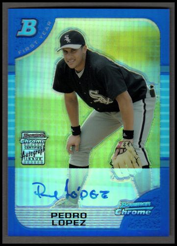 Photo of 2005 Bowman Chrome Blue Refractors #346 Pedro Lopez AU