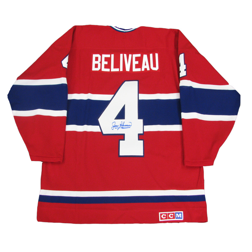 JEAN BELIVEAU Signed Montreal Canadiens Vintage Red CCM Jersey