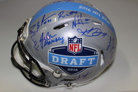 NFL - 2016 DRAFT MULTI SIGNED PROLINE HELMET (INCLUDING JARED GOFF CARSON WENTZ EZEKIEL ELLIOTT JOEY BOSA LAQUAN TREADWELL AND OVER 20 SIGNATURES TOTAL) SLIGHT SMUDGE ON FRONT OF HELMET