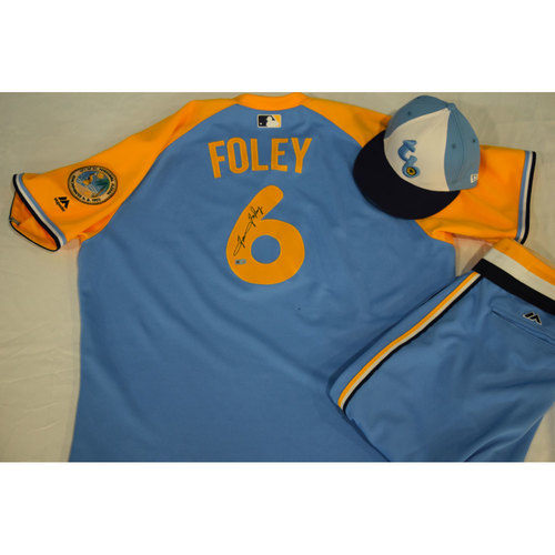 Photo of Autographed Turn Back the Clock Jersey, Hat and Pants: Tom Foley