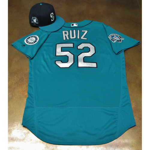 Photo of Carlos Ruiz Green Game-Used Jersey & Cap With Edgar Martinez Patch Worn 8-11-2017