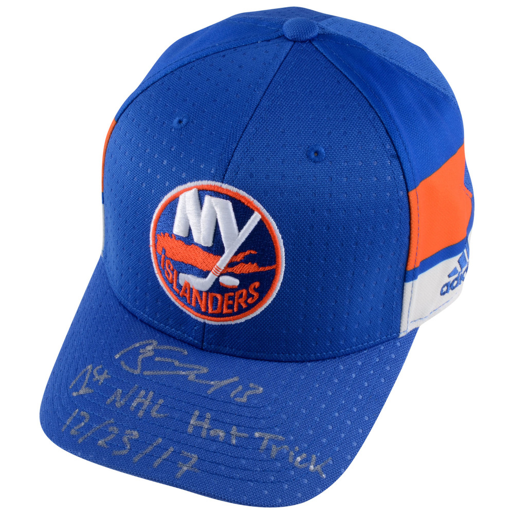 Mathew Barzal New York Islanders Autographed Adidas Cap with 1st NHL Hat Trick 12/23/17 Inscription - #1 of a L.E. of 13