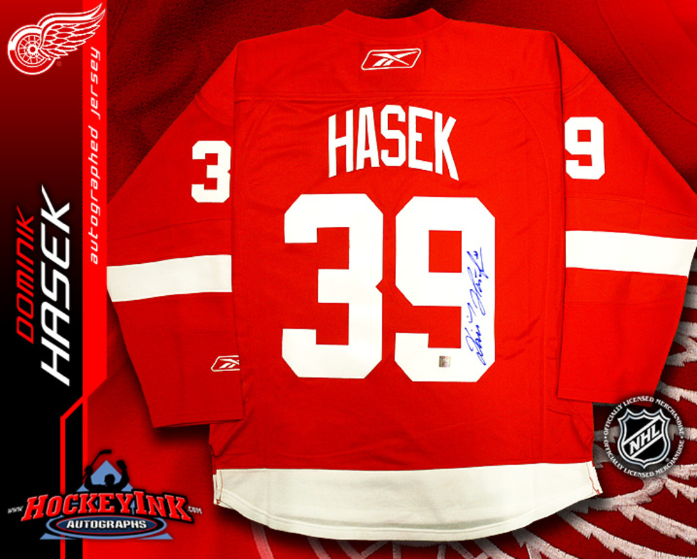 DOMINIK HASEK Signed RBK Premier Red Detroit Red Wings Jersey