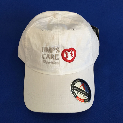 UMPS CARE AUCTION: White Adjustable UMPS CARE Hat by Antigua