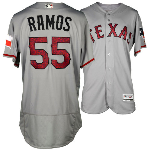 Photo of Cesar Ramos Texas Rangers Game-Used Fourth of July Star and Stripes Gray #55 Jersey vs. Boston Red Sox on July 4, 2016