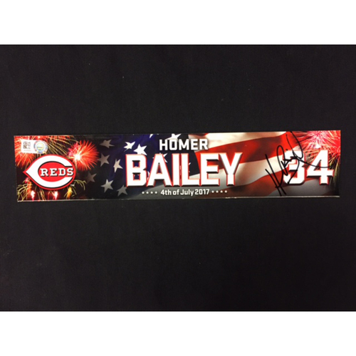 Photo of Homer Bailey -- Team-Issued Locker Tag -- Cubs vs. Reds on July 1, 2017