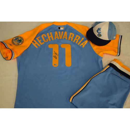 Photo of Game-Used Autographed Turn Back the Clock Jersey, Hat and Pants: Adeiny Hechavarria