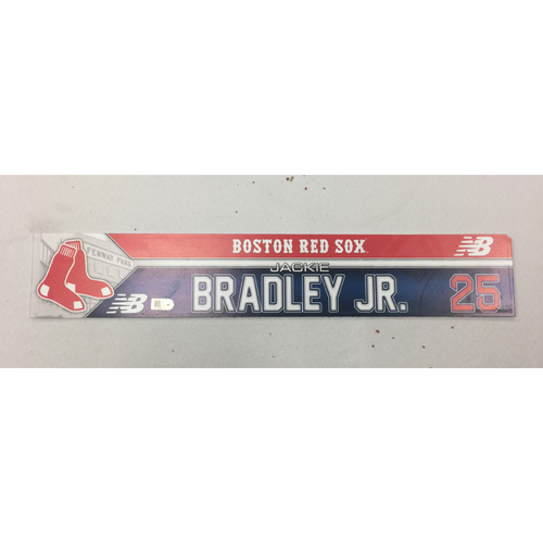 Photo of Jackie Bradley Jr. June 19, 2016 Game-Used Locker Tag