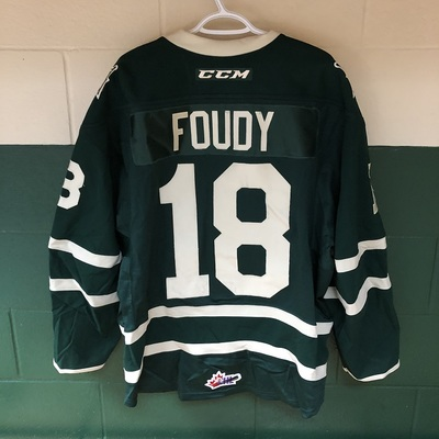 Liam Foudy 2016-2017 Green Game Jersey