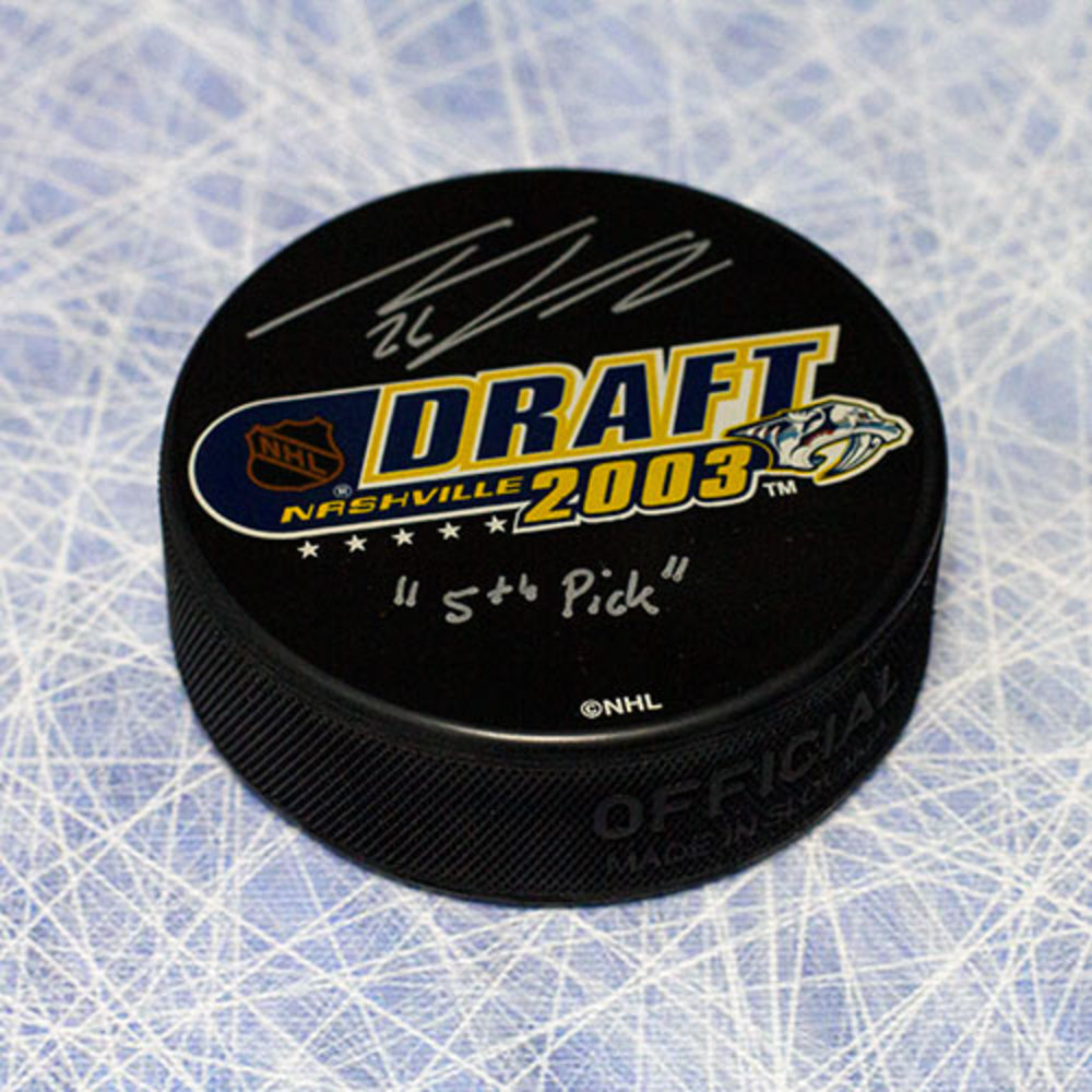 Thomas Vanek 2003 NHL Draft Day Puck Autographed w/ 5th Pick Inscription