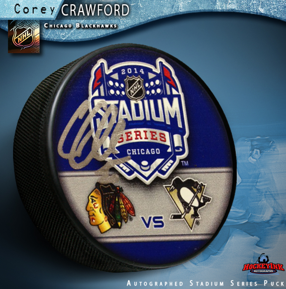 COREY CRAWFORD Signed 2014 NHL Stadium Series Chicago Puck