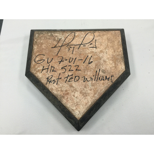 Photo of David Ortiz Autographed Game-Used July 1, 2016 Home Plate - Passes Ted Williams on the All Time HR list